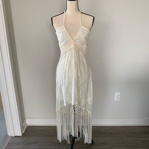 Sexy Halter Dress with Macrame and Fringe